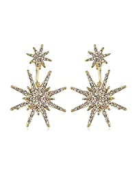 mengpa 女式 hexagram 耳钉和耳外套袖口耳环  金色