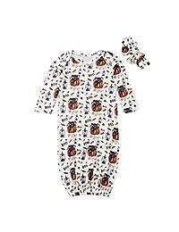 新生女婴男童万圣节睡衣南瓜睡袍带头带套装 0-12 个月