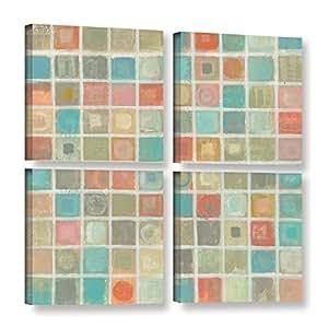 "ArtWall 2vas052e4848w 4 Piece ""Silvia Vassileva's Sea Glass Mosaic"" Gallery Wrapped Canvas Square Set, 48"" x 48"""