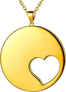 beautlace 双爱心项链/套装 18K 金/银/黑枪镀心形吊坠套装情侣和情侣珠宝礼物