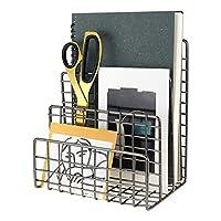 LEORISO 信封夹 3个插槽信件分类器 金属邮件整理器 用于邮件、文件、书籍、小册子和明信片的办公室整理(深灰色)