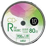 CD-R 80min for MUSIC 1-40倍速对应 1次记录用 白色宽印刷对应 10张装 主轴盒
