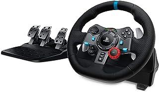 Logitech 罗技 G29驱动力赛车车轮和油门,实力反馈,不锈钢换挡拨片,皮革方向盘套,可调式油门,英国插头,PS4 / PS3 / PC / Mac –黑色