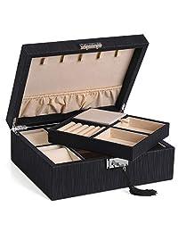 SONGMICS 双层珠宝盒,可锁式珠宝收纳盒,带项链钩,手表立方,覆盖隔层,可拆卸隔层,加厚框架,送给爱人的礼物,黑色,UJBC235BK