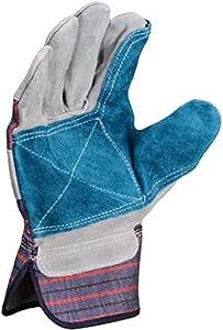Azusa 皮革*工作手套,大号,自然色/蓝色 大 天然 S96112-L