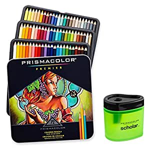 Prismacolor 3599TN Premier 软芯 72 色铅笔 + 1774266 Scholar 彩色铅笔刀;适合分层、混合和着色;柔软厚芯带来平滑的色彩布局