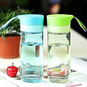 富光随手杯便携塑料杯透明水杯过滤学生带盖过滤太空杯男女泡茶杯蓝色+绿色(送杯套+杯刷)