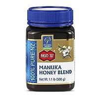 manuka health MGO 30 Plus麦卢卡蜂蜜混合物,纯新西兰蜂蜜,1.1磅(500克)