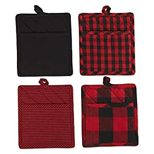 "DII 枕套格纹/格纹厨房和家居装饰 红色和黑色 9x8"" Z02423"