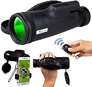 适用于智能手机的单筒望远镜,HD 12x50 变焦紧凑手持单筒望远镜,大功率 BAK4 棱镜带三脚架,手机适配器支架支架,成人与鸟类观看