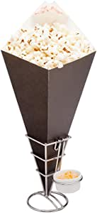 Conetek Black Food Cone with Dipping Pocket 15.5 inches 100 count box