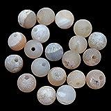 AD 珠子天然半宝石钻钻孔宝石 10mm 圆形散珠大孔 2mm 尺寸 30 件 Druzy Agate 2BigHole10Drzy
