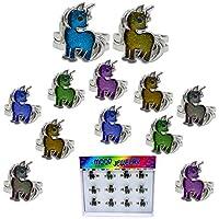 FROG SAC 12 件套美人鱼和海豚情绪戒指托盘适用于女孩、儿童、过渡 - 可爱变色戒指套装 - 派对喜爱、圣诞节礼物、儿童趣味情饰品 独角兽