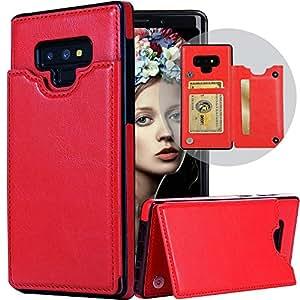 Galaxy Note 9 女士钱包式手机壳,Auker 超薄折叠式翻盖皮革保护套带卡槽折叠支架磁扣*贴合钱包三星 Galaxy Note 9 fit samsung galaxy note 9 红色