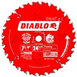 "Freud D0724X Diablo 7-1/4 英寸 24 齿 ATB 碳化合物装裱锯片带 5/8 英寸钻石旋钮 7-1/4"" D0724X"