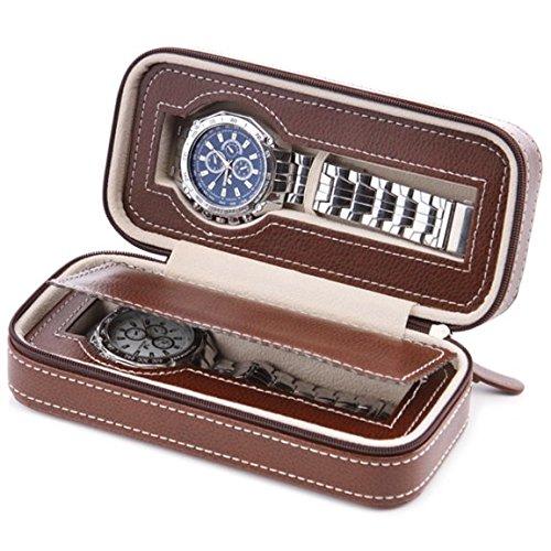 COMELYJEWEL 手表Dislpay 盒收纳包棕色 PU 皮革便携式手表旅行盒男式 棕色 2-Slot