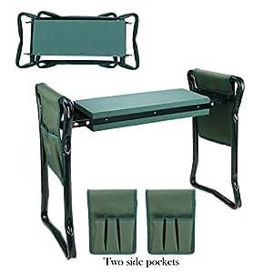 Garden 折叠式膝上座椅,带 2 个工具袋和 EVA 护膝垫手柄