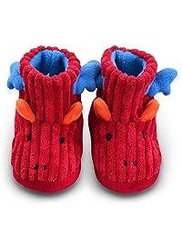 LA PLAGE 儿童冬季室内/室外毛绒针织怪物靴拖鞋防滑鞋底(男孩/女孩)