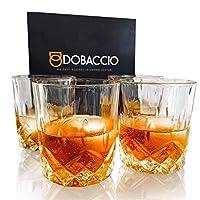 威士忌玻璃,Scotch Bourbon 饮水杯,老式水晶透明礼品 4 件套