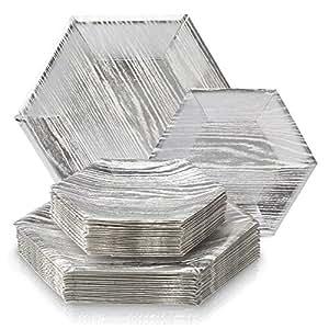 木材系列重量级纸盘子白色 texture- 一次性 hexagon–正式 dinners 设计儿童餐具套装聚会以及活动 ( 一套36) White with Silver Dinner and Side