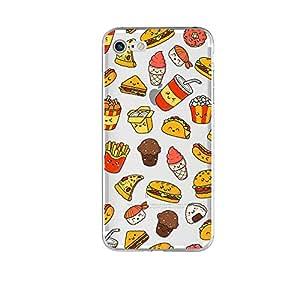 iPhone 8 Plus/iPhone 7 Plus 手机壳(5.5 英寸),Blingy's 随机设计风格软橡胶 TPU 手机壳适用于 iPhone 8 Plus/iPhone 7 Plus Happy Fast Food