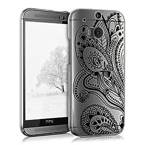 kwmobile 水晶手机壳 适用于 HTC One M8 / 双 - 硬质耐用透明保护壳 - 透明35407.04_m000027 Paisley Flower black transparent