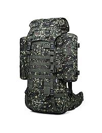 Mardingtop 65+10L/65L 内框背包战术*莫尔帆布背包适用于野营徒步旅行,带防雨罩,YKK 拉链 YKK 搭扣