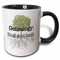 evadane–引语–genealogy It's ALL ABOUT 家庭–马克杯 黑色/白色 11 oz