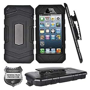 Apple iPhone SE、iPhone 5、iPhone 5S - 坚固的装甲手机壳皮带夹皮套 + PET 膜屏幕保护膜 A11 Black