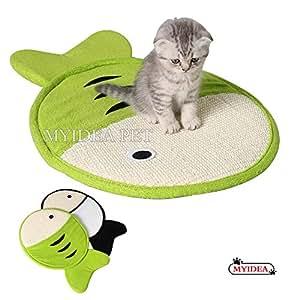 MYIDEA Sisal 长毛绒猫抓垫 - 天然 * 手工制作的猫咪或猫咪带铃铛宠物床垫 鱼类(绿色) L