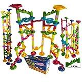 "Marble Run Coaster 106 大元素套装 76 块积木+30 块塑料弹珠。 Tracks 长度 194"" Genius Fun 套装。 学习铁路结构。 TEVELO DIY 无穷设计迷宫,家庭经典玩具。"