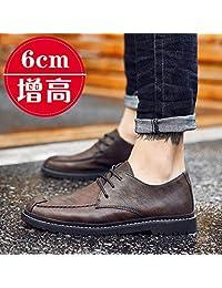 Gangxia 皮鞋男韩版夏季时尚休闲内增高鞋商务复古百搭英伦青春潮流鞋子男