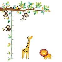 decowall dm-14015小猴子 Tree 儿童墙贴花墙贴纸即剥即贴可移除墙贴纸适用于儿童幼儿园卧室客厅