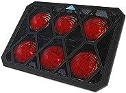 VOXON 筆記本電腦冷卻墊,6 個風扇筆記本電腦冷卻墊,帶 LED 燈,雙 USB 端口,紅色 LED 燈,適合 12-19 英寸筆記本電腦