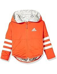 adidas Kids 阿迪达斯 女童 小童梭织夹克 CF6638 银金属/浅红 LG REV. HOODIE