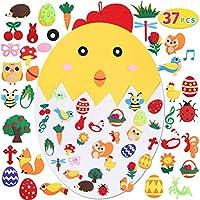 Max Fun 儿童毛毡复活节小鸡套装,含 37 件装饰品 DIY 家居装饰壁挂儿童毛毡工艺套件 复活节派对礼物