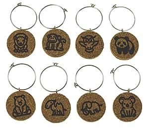 软木*杯魅力(多种设计可用)- 8 件套 软木 Zoo Animals