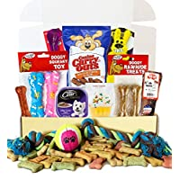 狗狗礼品盒篮 适合狗狗爱好者,圣诞节,生日,新狗毛茸茸宠物朋友,PRIME 玩具(豪华Barker Box)