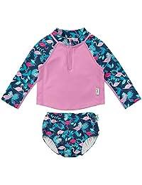 i play。 女婴 2 件套 LS 拉链*衣套装 带按扣可重复使用游泳尿布