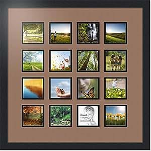 ArtToFrames 拼贴照片框双垫,带 16 个开口和黑色缎框。 喷砂机 16-3.5x3.5 Double-Multimat-461-767/89-FRBW26079