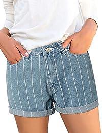 GRAPENT 女式高腰可拆卸腰带缝边阔腿牛仔短裤