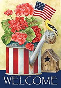 """Toland Home Garden Patriotic Watering Can Flag 118224 12.5"""" x 18"""""""