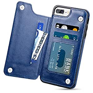 HianDier iPhone 8 Plus 7 Plus 钱包式手机壳,带信用卡插槽夹翻折式柔软 PU 皮革磁扣手机套兼容 iPhone 7/8 Plus 5.5 英寸 蓝色