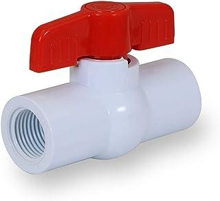 Midline Valve 482U212 PVC 球阀红色 T 型手柄水关机 2-1/2 英寸FIP 塑料,白色