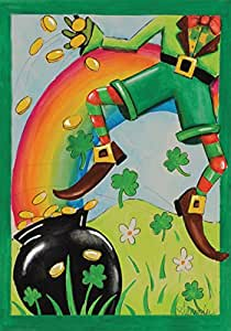 Toland Home Garden Leaping Leprechaun 28 x 40 Inch Decorative St Patrick's Day Rainbow Pot o Gold Coin House Flag