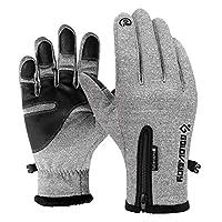 户外防水触屏手套 冬季全指拉链 男女防风保暖 骑行运动 抓绒登山滑雪 手套 (灰色)