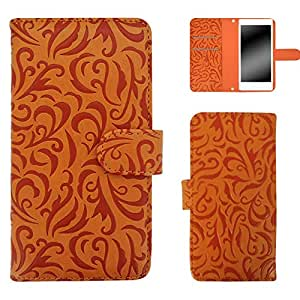 白色边框手机保护壳翻盖式 トライバルエンボス  橙色 1_ iPhone5