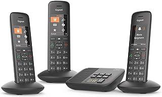 Gigaset C570A Trio 无线电话,带电话答录机(3 个带彩色显示屏和大按钮的移动部件,设计电话,免提,婴儿电话,模拟电话)黑色