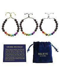 Believe London Chakra 手链带珠宝袋和含义卡 - 可调节手镯适合任何手腕 7 Chakra 天然石*灵基瑜伽