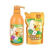 喜多 婴儿奶瓶清洗剂果蔬清洁剂500ml+450ml补充装(适用于蔬菜、水果、奶瓶、奶嘴、餐具、玩具等的清洗)